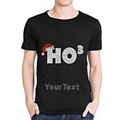 Personalized Rhinestone T-shirts Chirstmas HO3 Pattern Men's Cotton Short Sleeves