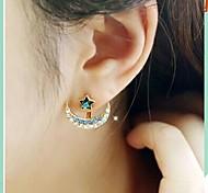 Beautiful Diamond Curved Moon Star Earring Personality