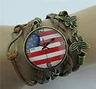 Handmaded Butterfly Multilayers American Clock Leather Wrap Bracelets
