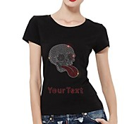 Personalized T-shirts Silver Skull Pattern Women's Cotton Short Sleeves