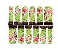 12PCS Pink Flower Pattern Green Watermark Nail Art Stickers C6-018