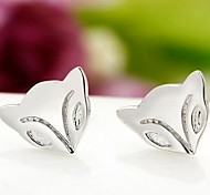925 Sterling Silver Fire Fox Stud Earrings
