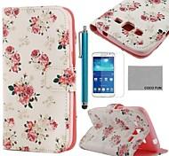 coco fun® rosa modello bianco pu custodia in pelle con la protezione dello schermo e lo stilo per Samsung Galaxy Grand 2 g7106