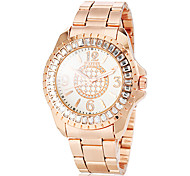 Women's Diamante Case Rose Gold Steel Band Quartz Fashion Watch (Assorted Colors)