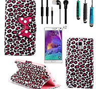 patrón del arco del leopardo del cuero de la PU con el lápiz táctil, película protectora 2 piezas, kit manos libres portátil para Samsung Galaxy Note