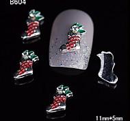 10pcs Fashion Xmas Sock 3D Alloy Nail Rhinestone DIY Nail Art Decoration