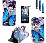 Butterfly Pattern PU Leather Cover with Card Slot with Touch Pen and Protective Film 2 Pcs for iPhone 4/4s