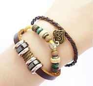 Vintage Handmade Leather Strand Bracelets
