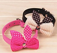 Cat / Dog Collar Adjustable/Retractable / Cosplay / Bowknot Red / Black / Blue / Pink / Yellow / Purple PU Leather / Textile
