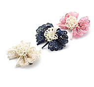 1PC Korean Pearls and Bowknot Lace Barrette(Random Color)
