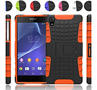 Two-in-One Tire Grain Design PC and Silicone Case with Stand for Sony Xperia Z2 (Assorted Colors)