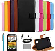 COCO FUN® Luxury Ultra Slim Solid Color Genuine Leather Case with Film,Cable and Stylus for HTC Desire X T328e