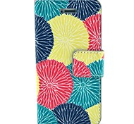 Red Yellow Green Lotus Pattern PU Leather Full Body Case with Card Slot and Stand for iPhone 4/4S