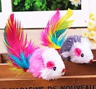 Lovely Mouse Shaped with Feather Decorated Plush Chew Toys for Pet Cats(Random Colour)