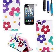 motif de tournesol pu couverture en cuir avec fente pour carte avec un stylo tactile et film protecteur 2 pcs pour iPhone 4 / 4S