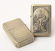 personalizado óleo metal ouro grava mais leve - lobo