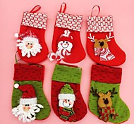 18CM Christmas Docorated Socks with Different Colour 6pcs(Random Colour)