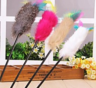 Colourful Feather Shaped Playing Stick with Plastic Pole for Pet Dogs Cats(Random Colour)