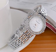 Damen Modeuhr Quartz Legierung Band Glanz Silber Marke-