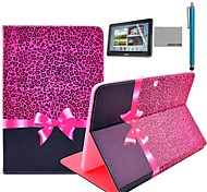 """COCO FUN® Purple Leopard Pattern PU Leather Flip Stand Case with Film and Stylus for Samsung Galaxy Tab 2 10.1"""" P5100"""