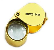 30X21 Mini Stainless Steel Optical Lens Magnifier - Golden
