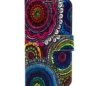 For Samsung Galaxy Case with Stand / Flip / Pattern Case Full Body Case Flower PU Leather Samsung S5