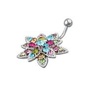 Flower Crystal Steel Belly Navel Bar Ring Body Piercing