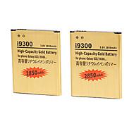 2850mAh 3.8v de alta capacidad de la batería de reemplazo de oro para la galaxia s3 i9300 con el cargador (2 baterías + 1 cargador)