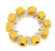 40 пФ 6мм пластиковые переменной / регулируемые конденсаторы - желтые (10 шт)