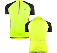 OUTTO Men's Cycling Jersey Short Sleeve Breathable Polyester Yellow Quick Dry Bike Jersey