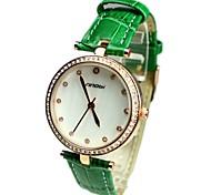 diamantes de la moda de las mujeres reloj sencillo PU del dial redondo de cuarzo banda de la muñeca