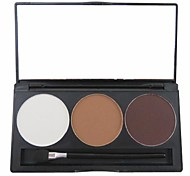 3 Color 3in1 Matte Professional Eyebrow Powder/Eye Shadow/Bronzer Makeup Cosmetic Palette with Mirror&Applicator Set