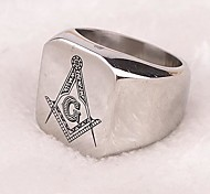 Z&X®  Punk Style Freemasonry Titanium Steel Men's Statement Ring