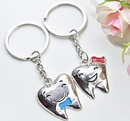 Personalized Engraving Tooth  Metal Couple Keychain