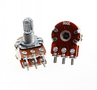 Duplex Double Union Potentiometer 6 Pins B50K Long Handle 15mm(5pcs)