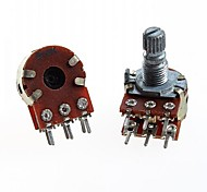 Duplex Double Union Potentiometer 6 Pins B10K Long Handle 15mm(5pcs)