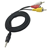 1.5m 5ft 3.5mm mini av naar 3 RCA male adapter audio-video-camcorder-kabel