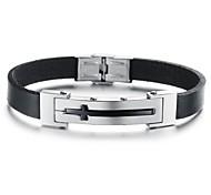 New Style 22cm Men Black Leather Stainless Steel Bracelet