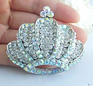 Women's Trendy Alloy Silver-tone Rhinestone Crystal Crown Wedding Bridal Brooch