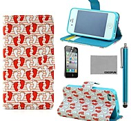 COCO FUN® White Red Foot Pattern PU Leather Full Body Case with Screen Protector, Stand and Stylus for iPhone 4/4S
