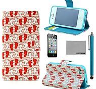 coco fun® wit rood voet patroon pu lederen full body case met screen protector, staan en stylus voor de iPhone 4 / 4s