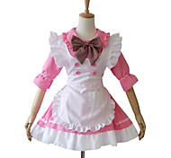 Half Sleeve Short Pink Cotton Maid cosplay Lolita Dress