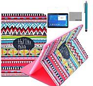 Coco fun® padrão tapete vermelho tribal caso estande pu tampa de couro com filme e stylus para samsung galaxy tab 10.1 4 T530