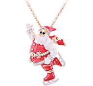 Lurene Lovely Oil Drip Father Christmas Pendant Alloy Necklace (Pendant Can Be Used As Brooch)