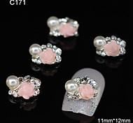 10pcs Pink Rose Flower Group DIY Alloy Accessories Nail Art Decoration