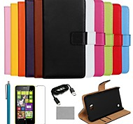 COCO FUN® Ultra Slim Solid Color Genuine Leather Case with Film,Cable and Stylus for Nokia Lumia N630(Assorted Colors)