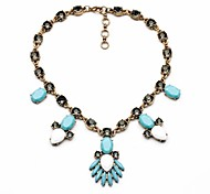 Jewelry Statement Necklaces Party / Daily / Casual Alloy / Resin / Rhinestone Women Light Blue / Light Green / White / Coppery / Gray