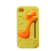 High-heeled Shoe Pattern Silicone Rubber Back Cover for iPhone 4/4S(Assorted Colors)