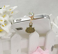 Fashion Delicate Frog Prince Shape Alloy Diamante Anti-dust Plug for Universal Mobile Phone
