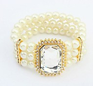 estilo europeo grande perla joya de lujo pulsera elástico (más colores)